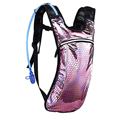 KUYOU Hydration Pack,Hydration Backpack with 2L Hydration Bladder Lightweight Insulation Water Pack for Festivals, Raves, Hiking, Biking, Climbing, Running and More (Pink)