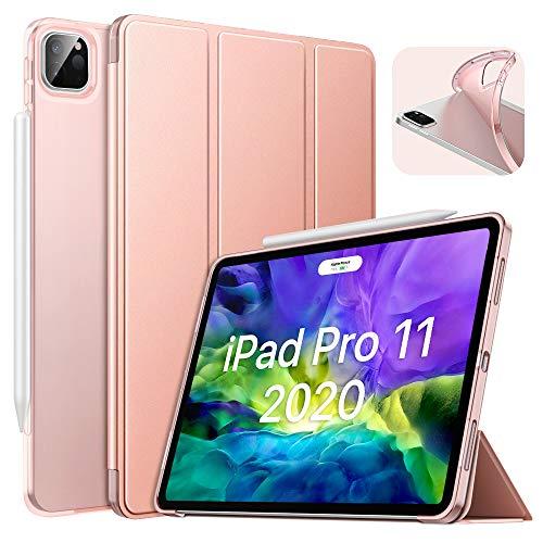 MoKo TPU Hülle Kompatibel mit iPad Pro 11 2020 2. Generation / 2018, Smart Case Schutzhülle Weich Transluzent Rückseite Backcover Auto Schlaf/Wach Funktion für iPad Pro 11 2020/2018 - Rose Gold
