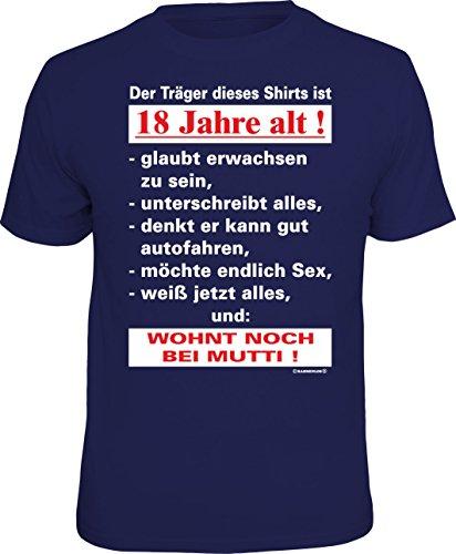 RAHMENLOS Original T-Shirt zum 18. Geburtstag: Der Träger Dieses Shirts ist 18 Jahre alt - Größe M, Nr.4410