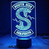Insignias Riverdale Snake Logo Luz de noche Led Southside Serpientes Decoracin Signo Cosas Riverdale Accesorios Regalo Lmpara de mesa Dormitorio