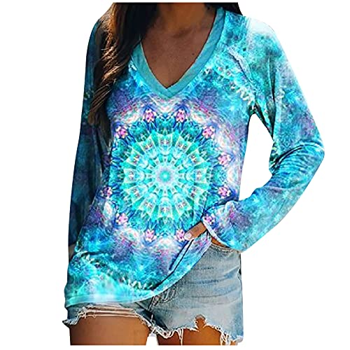 Long Sleeve Shirts for Women Fashion V-Neck Tie Dye Floral Print Blouses Fall Casual Tunic Tops to Wear with Leggings