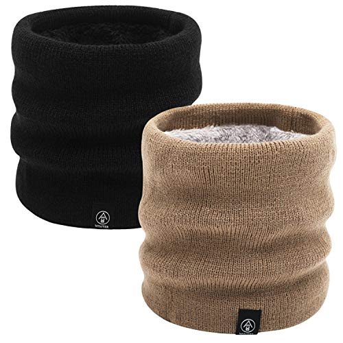 Tacobear 2 stuks halswarmers loop sjaal fleece voering gebreide sjaal slang halsdoek outdoor motorfiets fiets breien warme winter sjaal voor dames heren