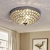 Depuley LED Kronleuchter Kristall Deckenlampe Modern Deckenlampe mit Elegantem Design, Breite 30 x Höhe 12 cm, 2 Lampenfassungen für Wohnzimmer Schlafzimmer Esszimmer, Glühbirne nicht enthalten