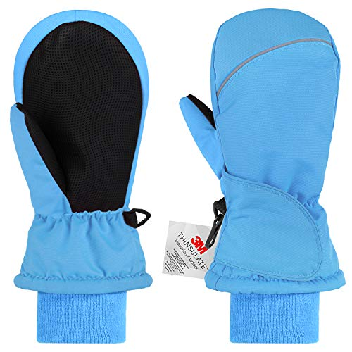 Andake 2-8 Years Kids Toddlers Waterproof Windproof Breathable Warm Winter Ski Snow Mitten Gloves for Girls/Boys with 3M Thinsulate Insulation