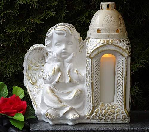 ♥ GRABLAMPE GRABLATERNE Engel Schutzengel MASSIV 30,0cm Weiss Bronze INCL. GRABKERZE Grablicht GRABDEKORATION GRABSCHMUCK GRABLEUCHTE Laterne Lampe Kerze LICHT