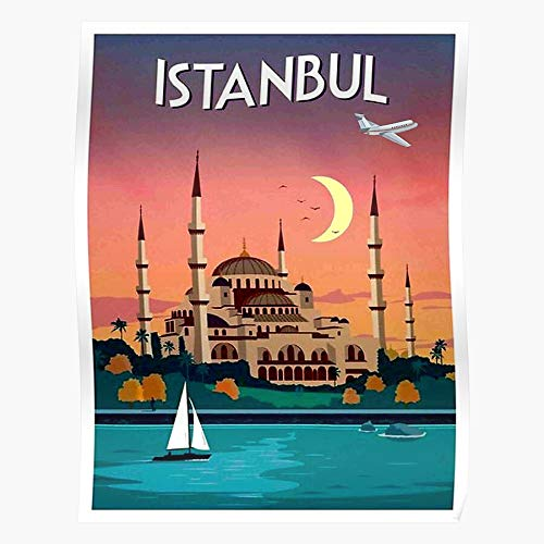 Domes Istanbul Turkey Moon Mosque Middle East Boats Sailboats El mejor y más nuevo póster para la sala de decoración del hogar de arte de pared