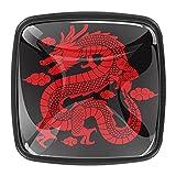 Pomos tradicionales de cristal de dragón rojo chino para cajones de tocador, tiradores de cristal de cristal, pomos para puerta con tornillos (paquete de 4)