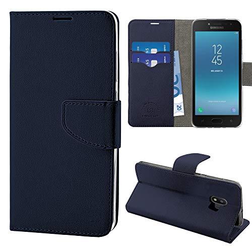 NewTop Funda compatible para Samsung Galaxy J2 2018, HQ Lateral Funda Libro Flip Magnética Cartera Simil Cuero Stand (Azul)