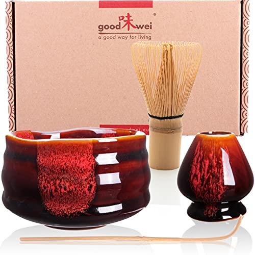 Goodwei Japanisches Matcha Komplett-Set mit hochwertiger Teeschale (Akai, 80)