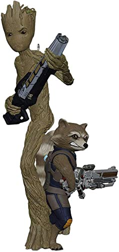 Hallmark Keepsake Christmas Ornament 2018 Year Dated, Marvel Avengers: Infinity War Groot and Rocket
