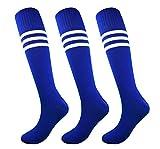 Fitliva Tube Dress Royal Blue Athletic Athlete Sports Socks with 3 White Stripes(3pairs-Blue)