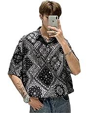 メンズ ハワイ ペイズリー 柄シャツ カシ ューの花夏のカジュアルファッション半袖シャツ