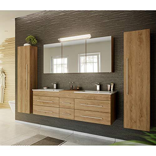 Lomadox Badmöbel Komplett Set, Eiche hell, 153cm Waschtisch-Unterschrank mit 6 Schubkästen, 2 Waschbecken, LED-Spiegelschrank, 2 Hochschränke
