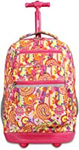 J World New York Sundance Laptop Rolling Backpack, Pink Paisley, One Size