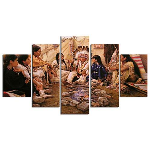 Dzrmb 5 Pièces Peintres Américains Alfredo Rodriguez Indian Life Accueil Décoration Murale Toile Image Art HD Imprimer Peinture sur Toile Artworks @ 40x60_40x80_40x100_cm