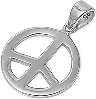 Glitzs Jewels 925 Sterling Silver Pendant for Necklace (Peace Sign) | Cute Gift for Women