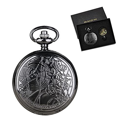 Doctor Who - Reloj de bolsillo con caja de bronce de cuarzo, esfera blanca y cadena para hombre retro Dr Who, negro,