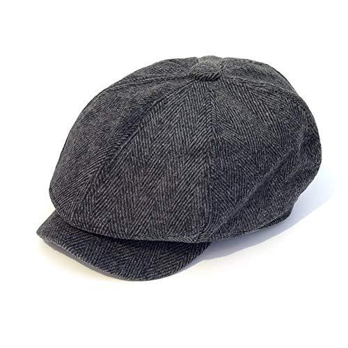 WAZHX Hombres Sombreros Otoño Vintage Espiga Octagon Cap Mujeres Casual Rayas Boinas Gatsby Sombrero Plano L-58Cm Negro