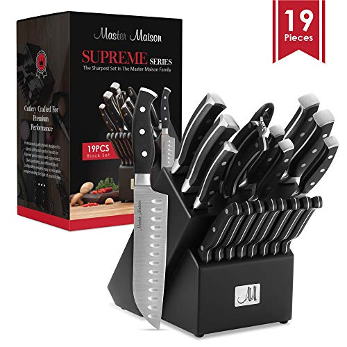 19-Piece Premium Kitchen Knife Set With Wooden Block | Master Maison German Stainless Steel Cutlery With Knife Sharpener...