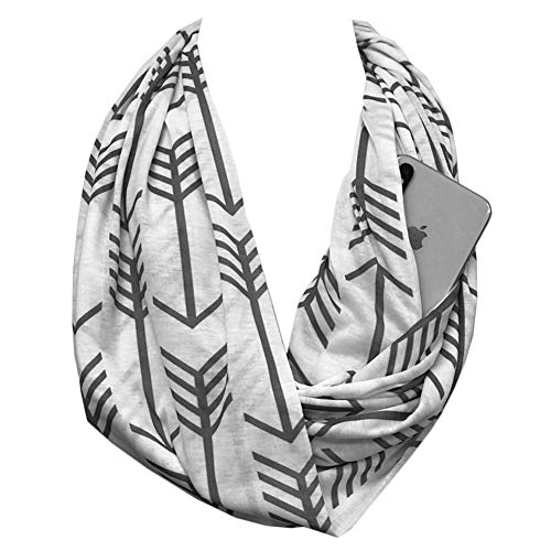 Shop Pop Fashion - Infinity Scarf with Hidden Zipper Pocket to store Phone, Keys, and Wallet (White)