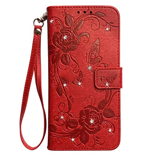 Compatible with LG Stylo 5 Case,LG Stylo 5 Wallet Case for Women Kickstand Credit Card Holder Wrist Strap Magnetic Red PU Leather Bling Crystal Glitter Flip Cover Embossed Butterfly Flower