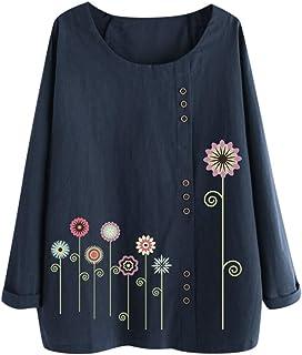 aihihe Womens Plus Size Tops Crew Neck Short/Long Sleeve Floral Print Button Down Cotton Linen T-Shirt Casual Blouse