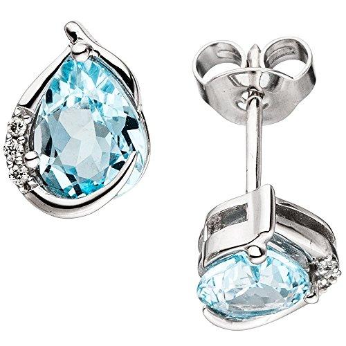 Pendientes con diseño de topacio azul & 6 diamantes brillantes 585 oro blanco para mujer