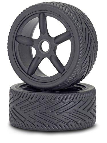 Carson 500900076 - 1:8 Reifen/Felgen-Set On-Road, Modellbauzubehör, 2 Stück, schwarz