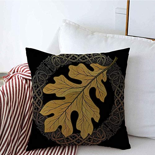 Decorative Throw Pillow Square Covers Isolated Druid Pagan Oak Leaf Autumn Coloring Filigree Style Celtic Tree On in Magic Forest Nature Linen Cushion Pillow Case for Bed Sofa 18x18 Inch