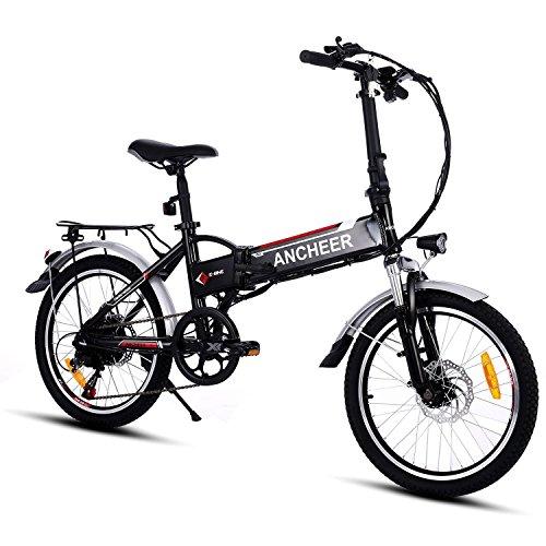 aceshin Bicicletta elettrica pieghevole Mountain Bike velocità di 250W / 7 proiettore luminoso LED e corno