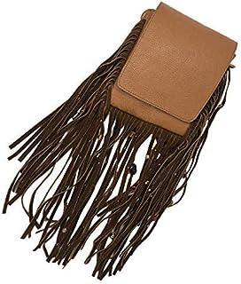 Kiki Boho   Mystica Marrón, bolsa de piel color marrón con flecos de gamuza y piedras decorativas