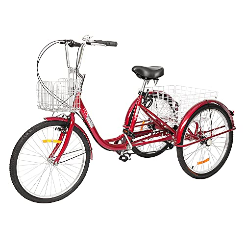 """PEXMOR Adult Tricycle, 7 Speed Trike Cruiser Bike, 24/26 Inch Three-Wheeled Bicycle with Foldable Front & Rear Basket Adjustable Height Seat for Recreation, Shopping Men's Women's Bike (Red, 24"""")"""