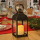 WRalwaysLX Decorative Lanterns with Timer Candle Light Flameless Candles 9' H Indoor/Outdoor Lantern with Hanging use 3AAA Battery,Plastic with Bronze Undertones