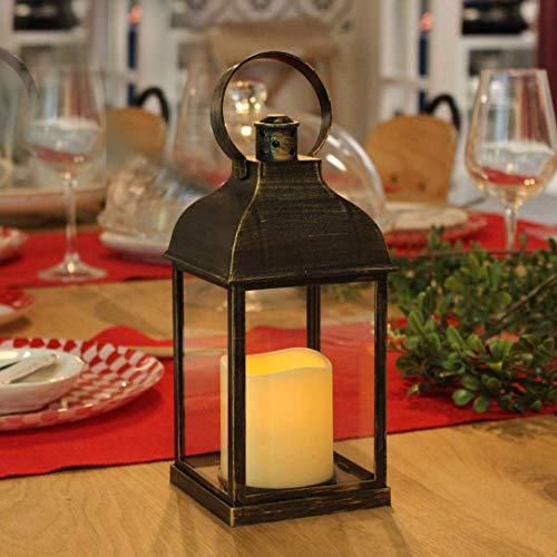WRalwaysLX Dekorative Laternen mit flammenlose Kerzen 22,9 cm H mit Laterne mit-Timer Zum Aufhängen Verwenden 3 AAA Akku, Kunststoff mit Bronze Undertones