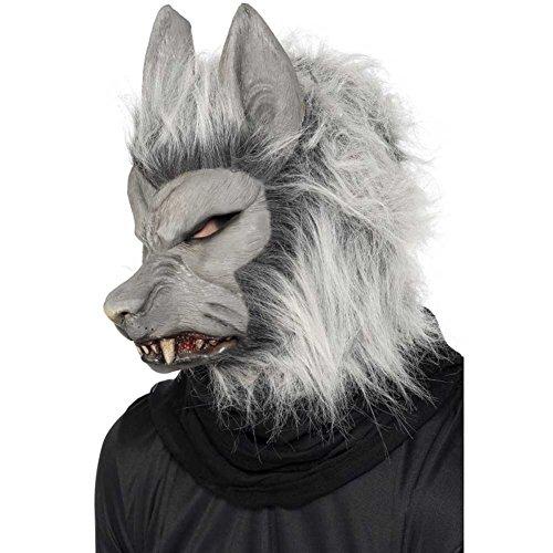Smiffy'S 24130 Careta De Hombre Lobo Para La Cabeza, Gris,