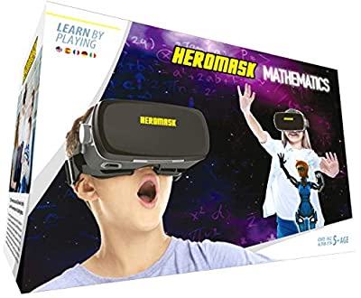 VR Headset + Math Games [Multiplication Subtraction etc] Virtual Games: Gift for Boys & Girls. Cool Educational Toys for Kids 5 6 7 8… Years Old. Virtual Reality Learning Resources Grade 1 2 3 4…8 by Heromask