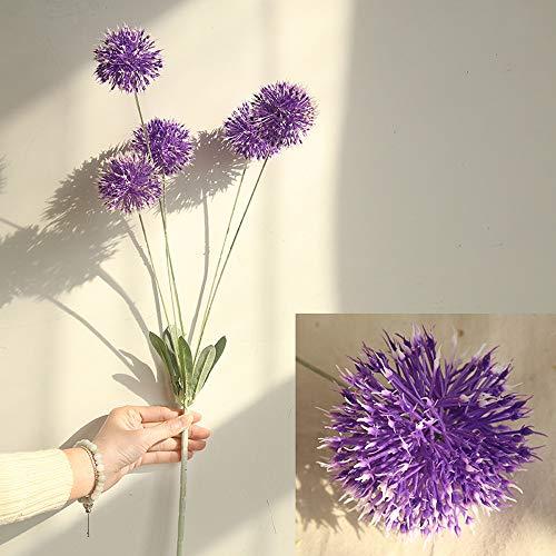 Fine Artificial Silk Fake Flowers Dandelion Floral Wedding Bouquet Hydrangea Decor (Purple)