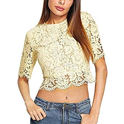 RAINED-Women's Lace Crop Top Pure Blouse Short Sleeve Sexy Sheer Blouse Mesh Crochet Vest Ruffle Hem Cami Tank Tops