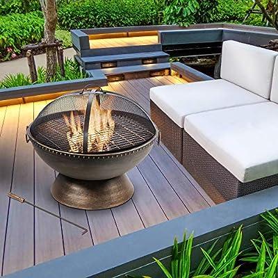 "Peaktop Outdoor Garden Patio Round Bowl Steel 30"" Log Burning Fire Pit, Bronze from Teamson"
