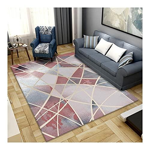 SFQRYP Alfombra con estampado geométrico para sala de estar, sofá, decoración del hogar, antideslizante, lavable, alfombra (color: rojo vino, tamaño: 80 x 120 cm)