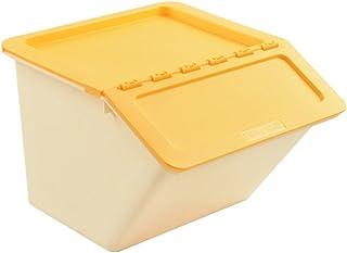 Boîte de rangement à double coque Jaune Jaune Couvercle en plastique Ouverture frontale Vêtement Jouets Finition Combinais...