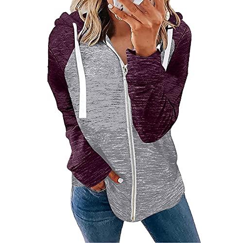 Wave166 Sudadera con capucha para mujer, con cremallera, patchwork, color con cordón, moderna, informal, para otoño, morado, XXL
