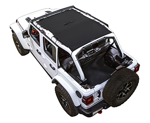 SPIDERWEBSHADE compatible with Jeep Wrangler JL Mesh Shade Top Sunshade UV Protection Accessory USA Made for Your JL 4-Door (2018 - current) in Black