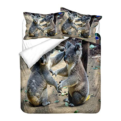 788 3D Animal Koala Bear Lovely Bedding set Tropical Jungle Summer Leaves Juvenile Duvet Cover and Pillowcase Boy Girl Child Zipper Microfiber (Style 4, King 220x240 cm)