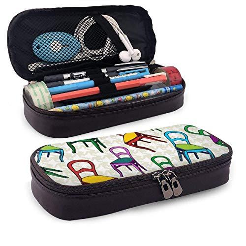 Silla antigua PU Cuero Lápiz Estuche para bolígrafo Bolsa con cremallera Útiles escolares para estudiantes Monedero Bolsa de maquillaje cosmético