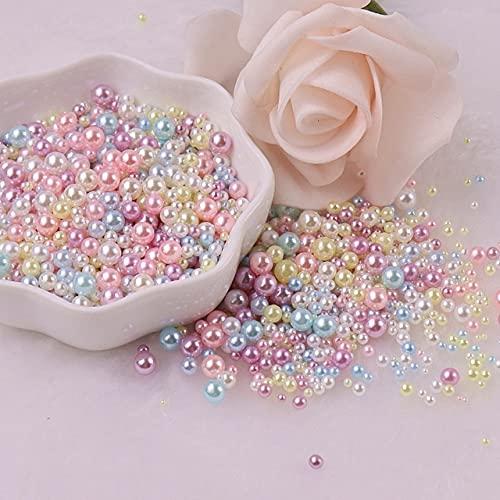 2/3/4/5 mm sin agujeros, perlas redondas, perlas de imitación de acrílico, perlas para hacer joyas, manualidades, decoración de 10 g, macarrones, mezcla de 1,5 a 5 mm, 500 unidades
