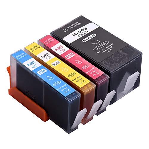 Aibecy Cartuchos de tinta 903XL de repuesto para HP 903XL 903 compatibles con la impresora multifunción HP Officejet Pro 6950 6960 6970, paquete de 4