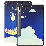 Funda Galaxy Tablet S7 Plus de 12,4 Pulgadas 2020 con Soporte para bolígrafo S, Fondo de Pascua Escribir Texto Huevos Que Ponen Soporte Delgado Funda Protectora Tipo Folio para Samsung