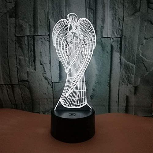 Rnwen Angel LED gradiente Colorido 3D lámpara de Mesa Tridimensional táctil Control Remoto USB luz de Noche Escritorio Junto a la Cama decoración Creativa Adornos de Regalo