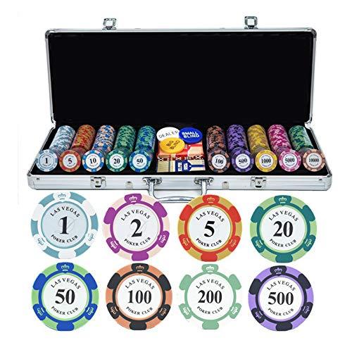 Set de Poker/Póquer, Ultimate Pokerset, Maletín Poker Profesional, 100-500 Piezas de fichas(Arcilla), 2 póker 100% de plástico, 5 Dados, 3 Boton, Maletín de Aluminio(Plata)